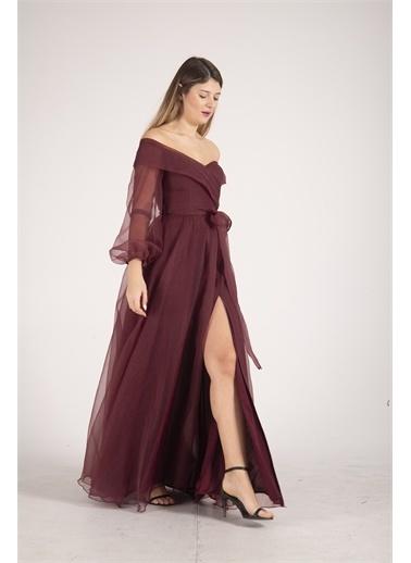 Belamore  Bordo Kayık Yaka Yırtmaçlı Abiye & Meznuiyet Elbisesi 1301583.04 Bordo